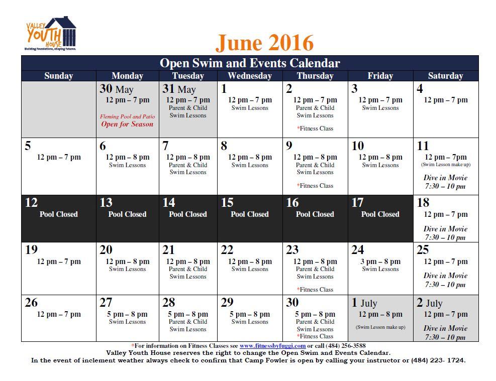 2016 June Open Swim and Events Schedule 05.22.16