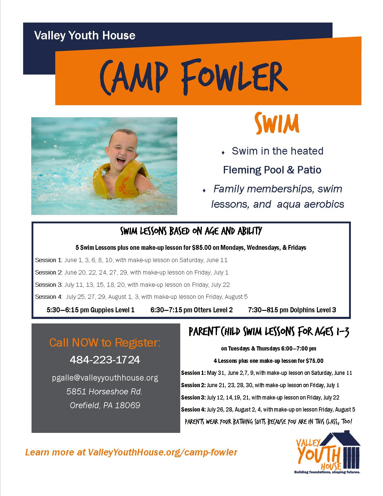 Camp Fowler Swim flyer 2016