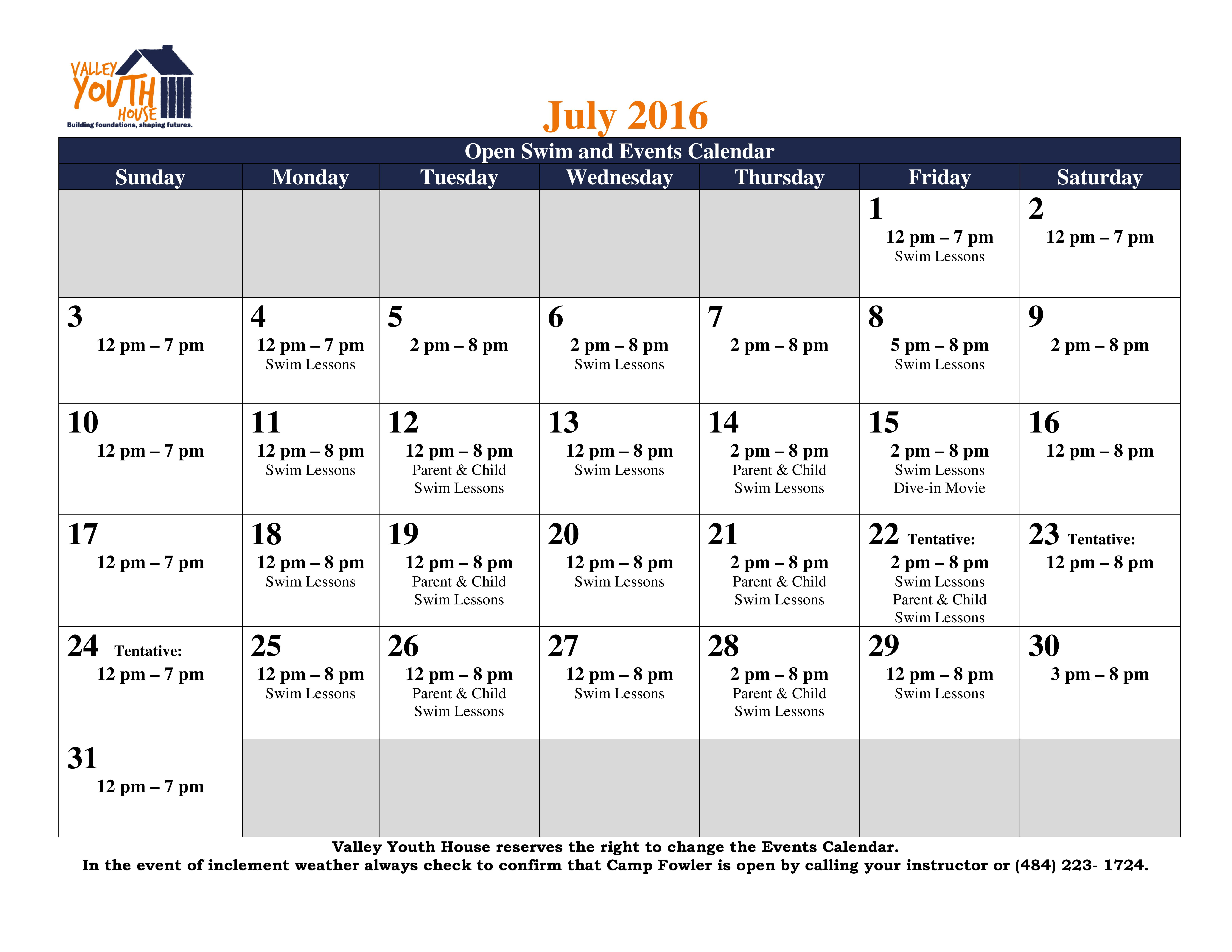 July 2016 schedule