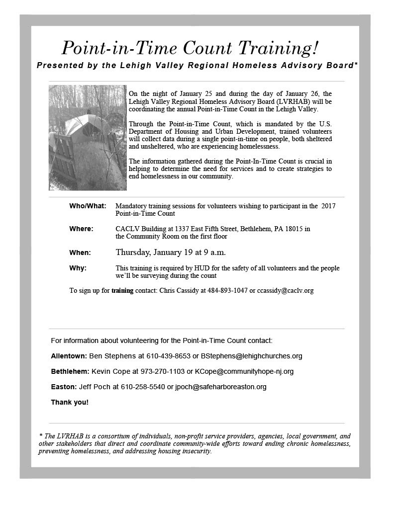 Volunteers Needed for LV Point-In-Time Count - Valley Youth House